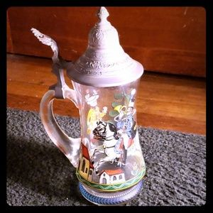 Other - Vintage German Glass Stein Painted w/ Pewter Top